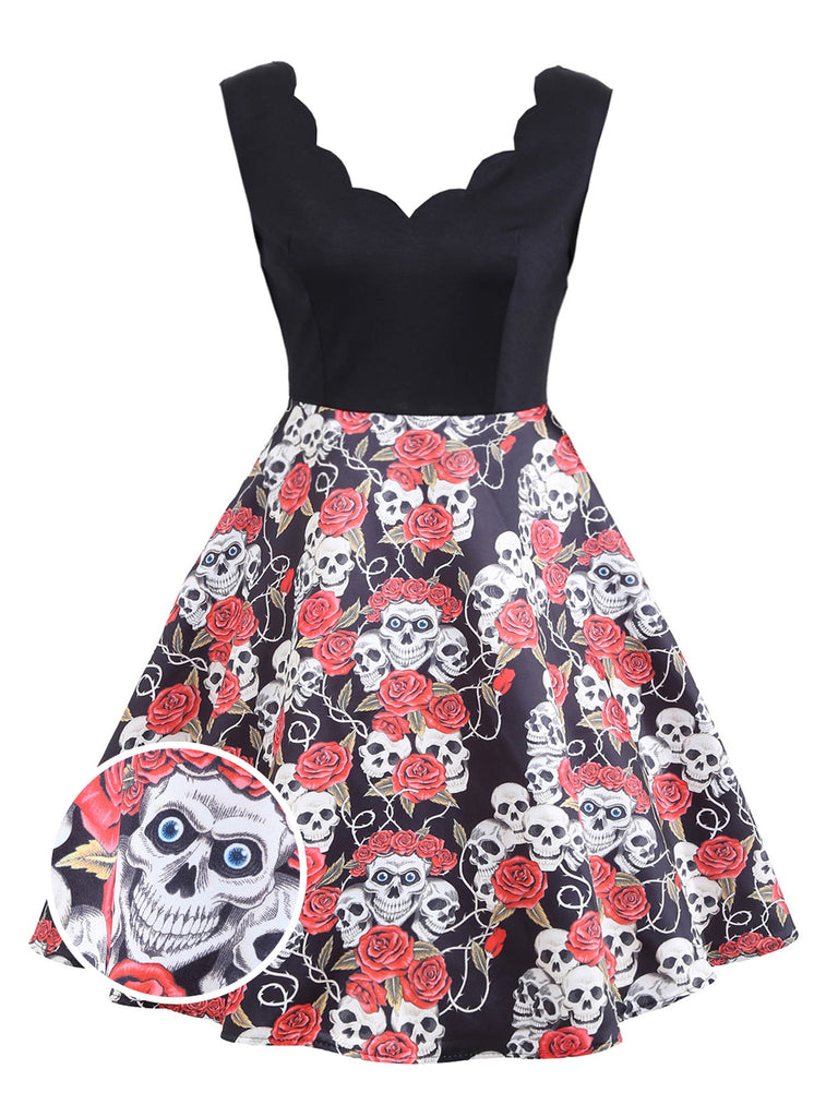 Plus Size Black 1950s Halloween Skull Dress