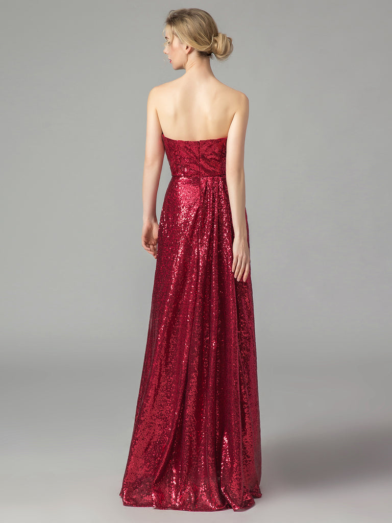 Vintage Sequined Strapless Bridesmaid Dress