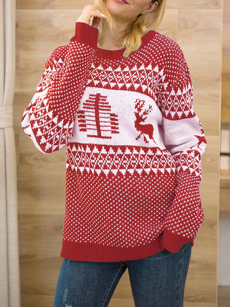 Retro Christmas Pullover Long Sleeve Sweater