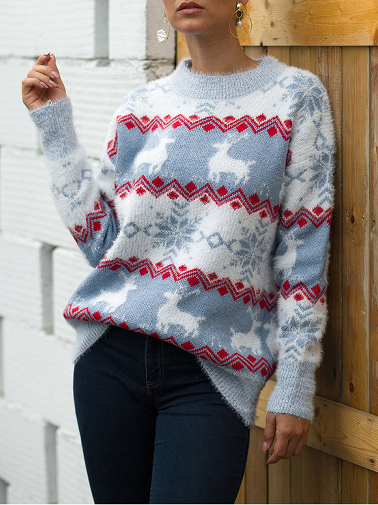 Retro Christmas Long Sleeve Pullover Sweater