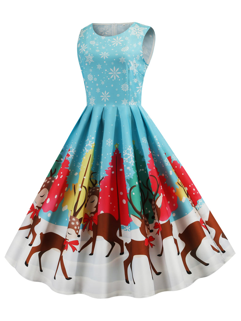Blue 1950s Christmas Deer Swing Dress
