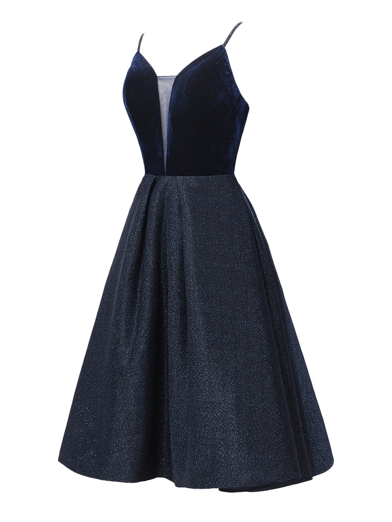 1950s Strap Velvet Bridesmaid Dress