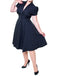 1950s Solid Button Swing Dress