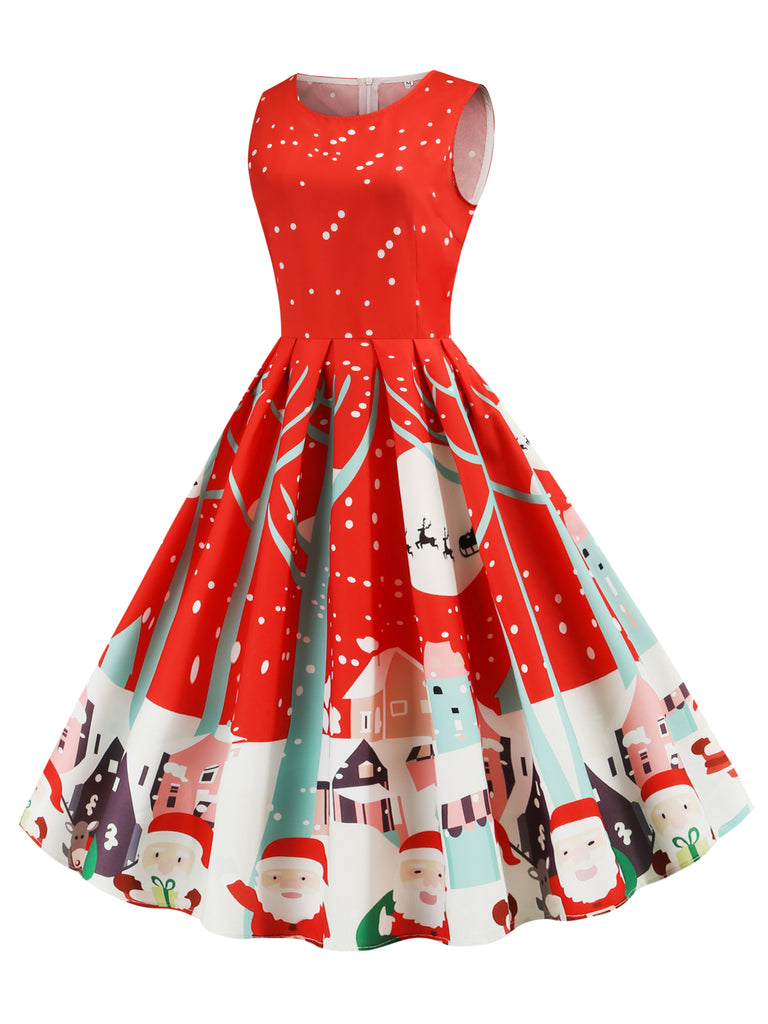 1950s Christmas Santa Swing Dress