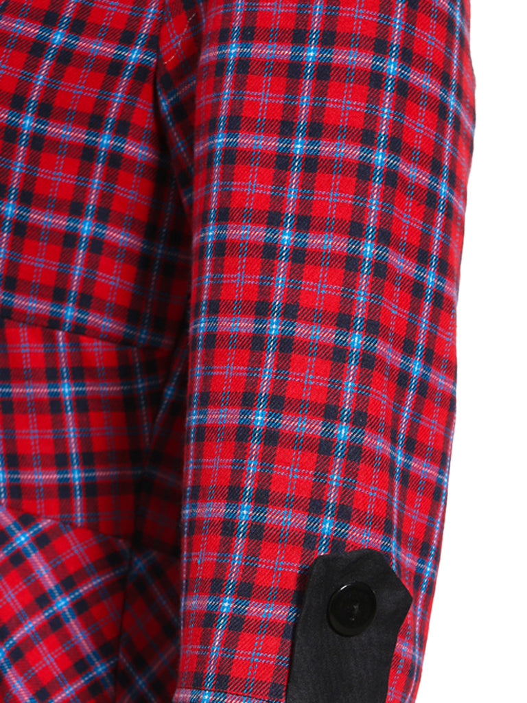 Red 1950s 3/4 Sleeve Plaid Dress