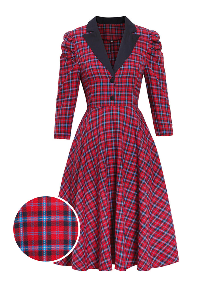 Red 1950s Plaid 3/4 Puff Sleeve Dress