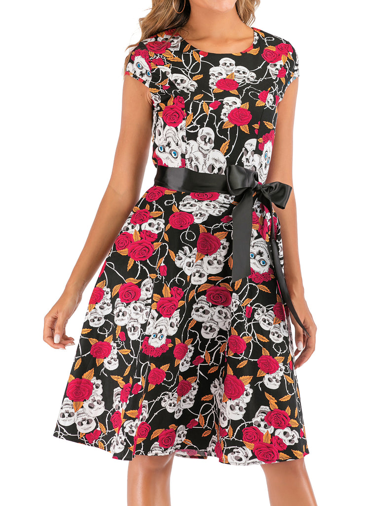Black 1950s Skull Rose Belted Swing Dress