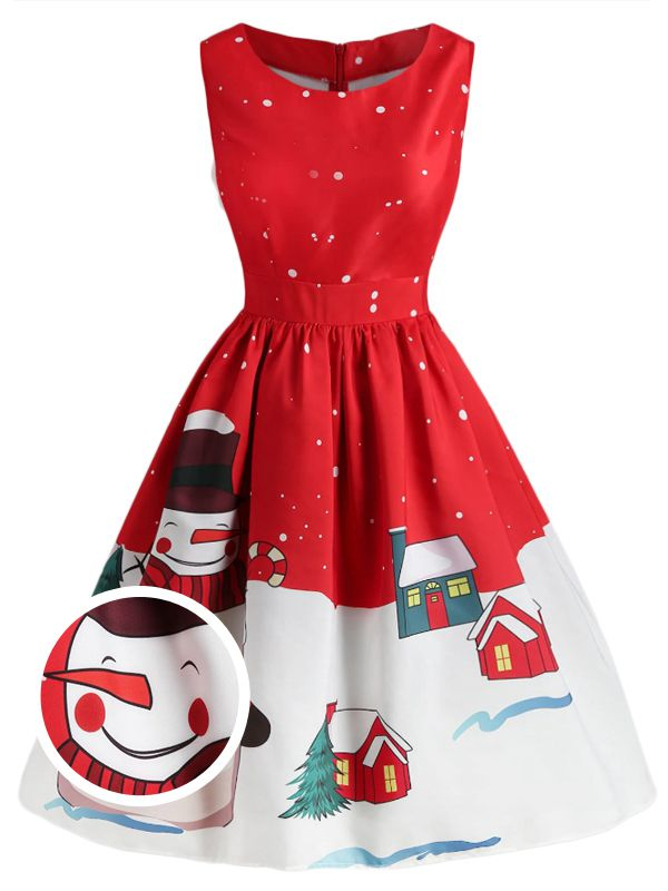 Red 1950s Christmas Snowman Swing Dress
