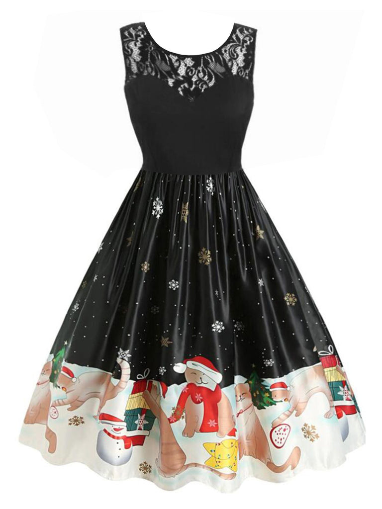 Black 1950s Christmas Lace Kitty Dress