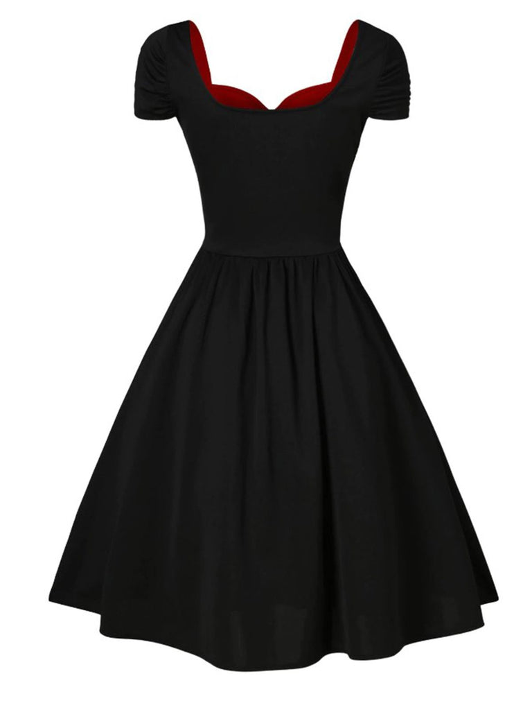 Black And Red 1950s Lace Up Patchwork Dress