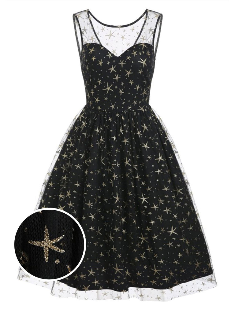 Black 1950s Star Mesh Swing Dress