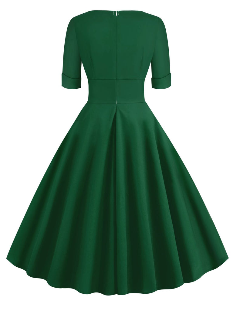 1950s Solid Sweetheart Fold Swing Dress