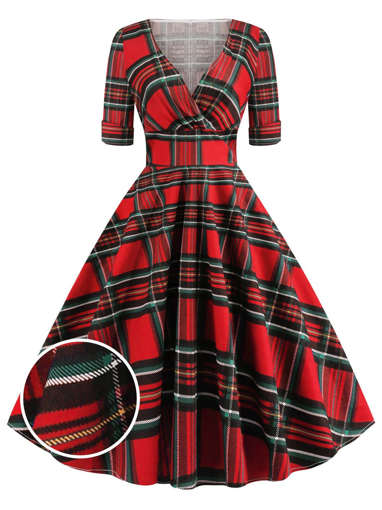 1950s Plaid Sweetheart Fold Swing Dress
