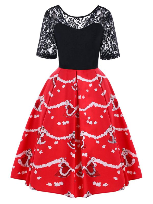Red 1950s Christmas Lace Swing Dress