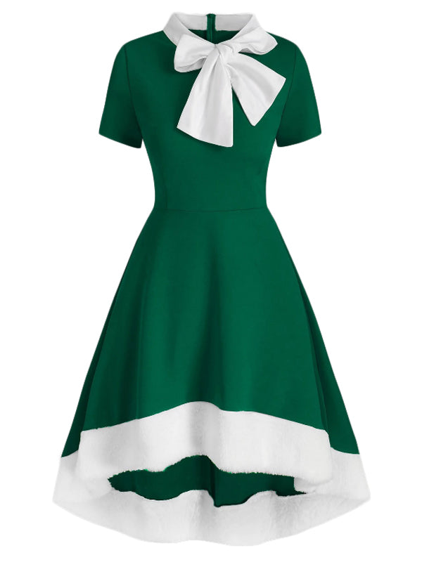 1950s Bowknot Collar Swing Dress