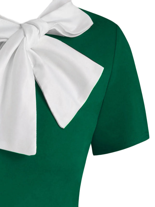 1950s Christmas Bowknot Collar Swing Dress