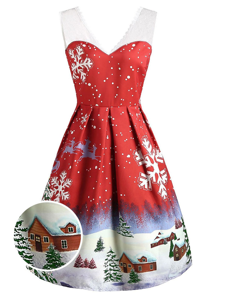 Red 1950s Christmas Mesh Swing Dress