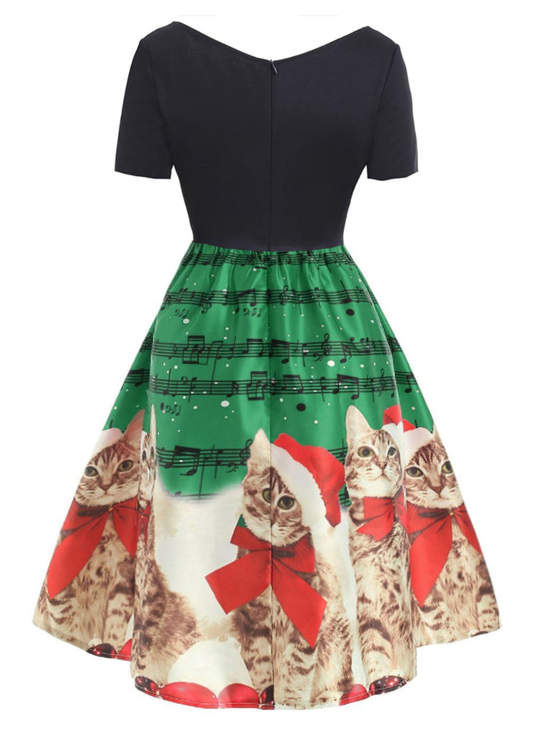 1950s Christmas Kitty Swing Dress