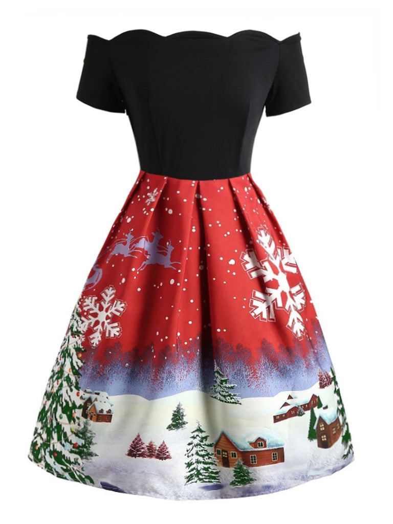 Red 1950s Christmas Off Shoulder Swing Dress