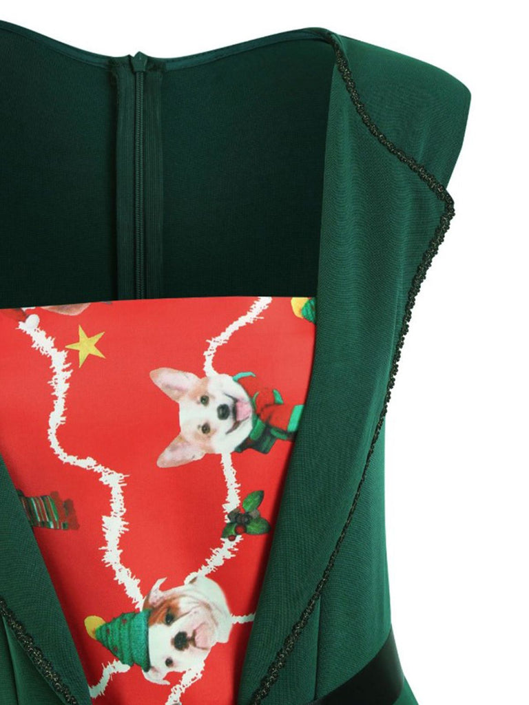 Green 1950s Patchwork Christmas Belt Dress