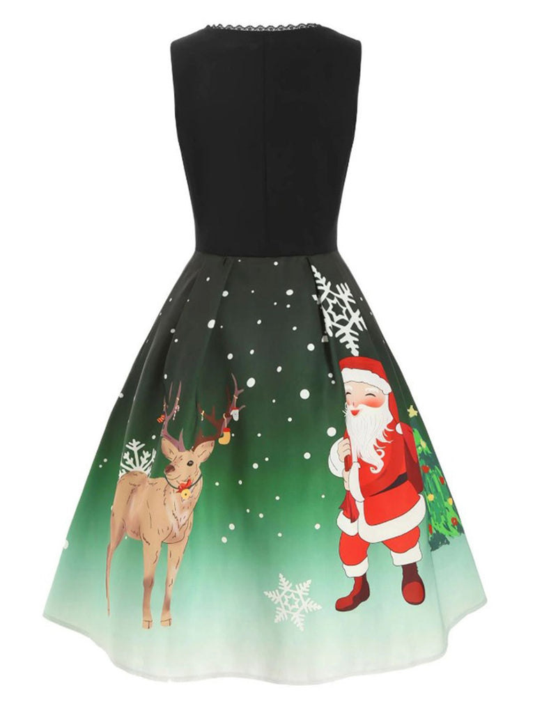 Dark Green 1950s Lace Up Christmas Dress
