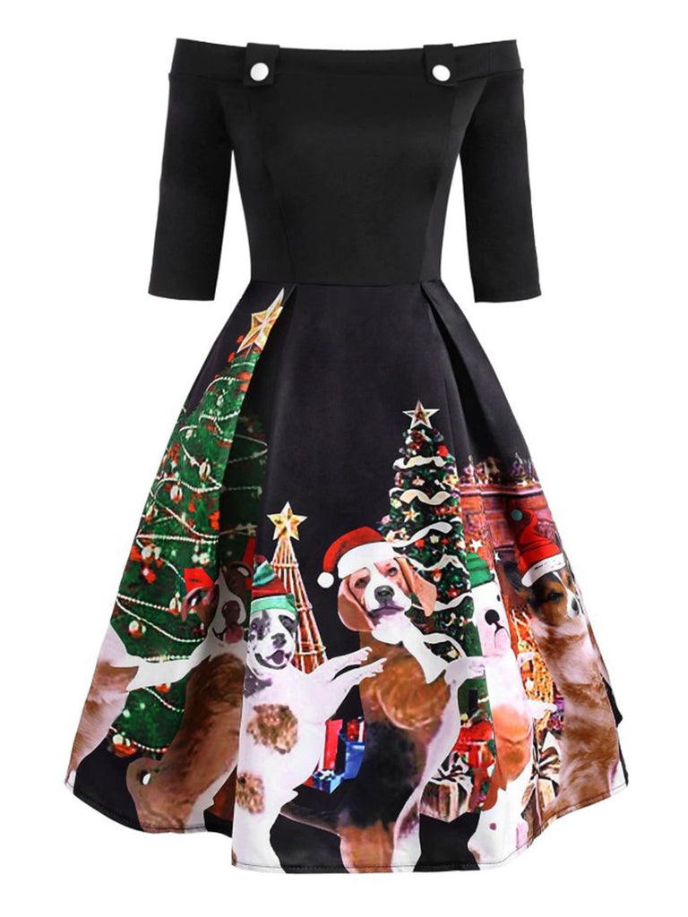 Black 1950s Off Shoulder Christmas Puppy Dress