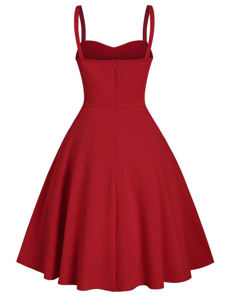 Red 1950s Sweetheart Button Strap Dress