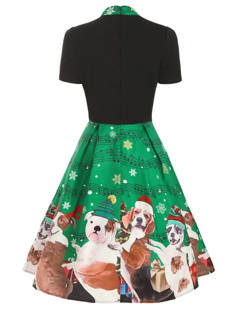 Green 1950s Bow Christmas Puppy Dress