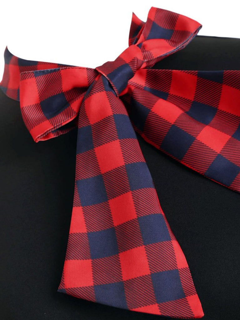 1950s Plaid Patchwork Bow Swing Dress
