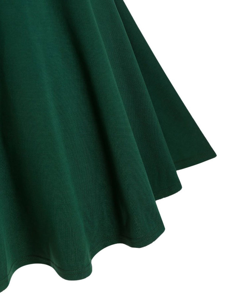 Dark Green 1950s Bow Swing Dress