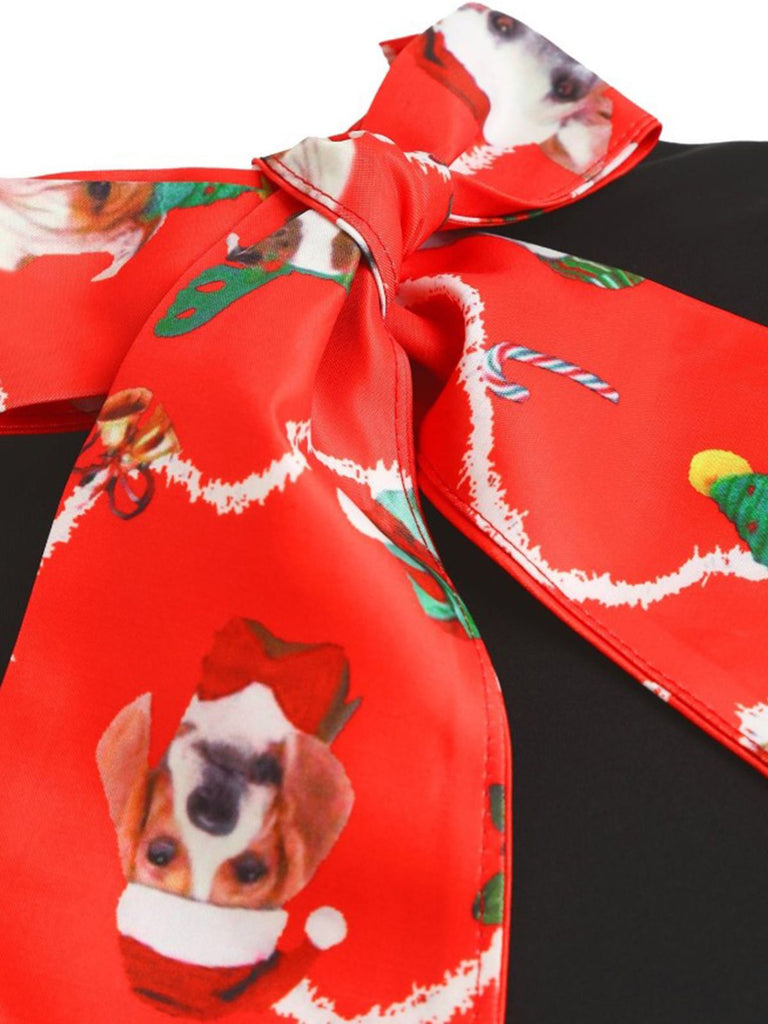 1950s Christmas Puppy Bow Swing Dress