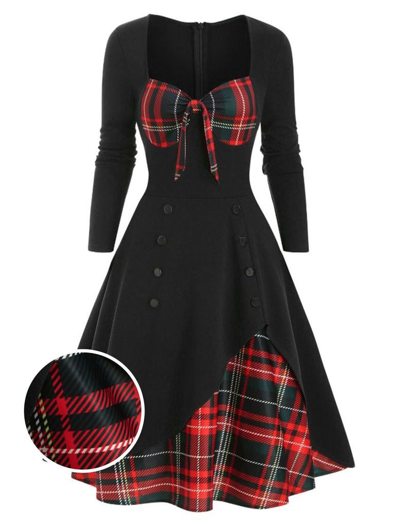 1950s Sweetheart Plaid Patchwork Dress