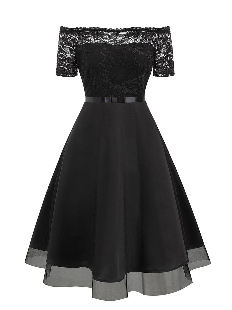 1950s Lace Off Shoulder Swing Dress