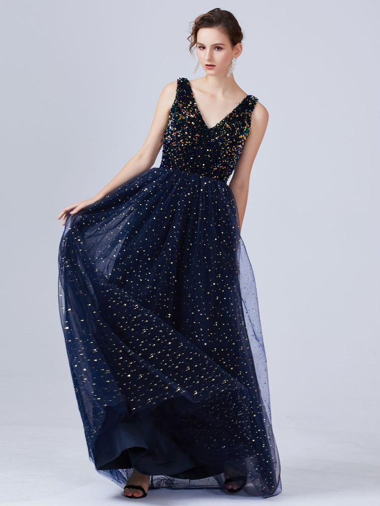 Sequined Backless Bridesmaid Dress