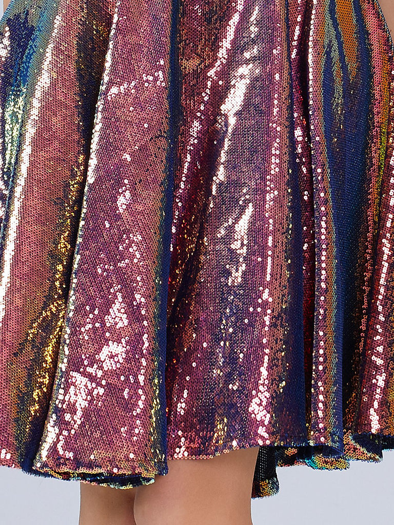 Strap Holo Sequined Bridesmaid Dress