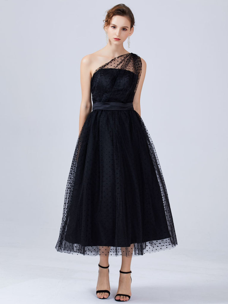 Polka Dot Mesh One Shoulder Prom Dress – Retro Stage - Chic