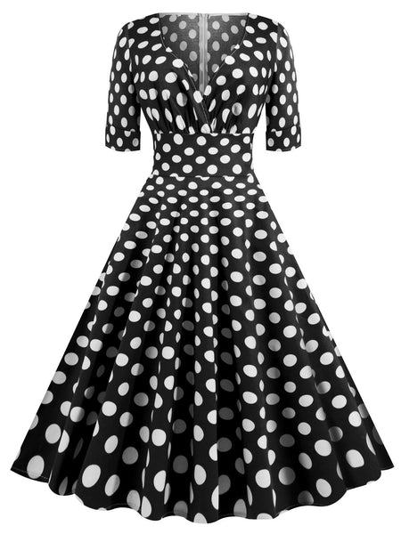 1950s Polka Dot Fold Swing Dress Retro Stage Chic