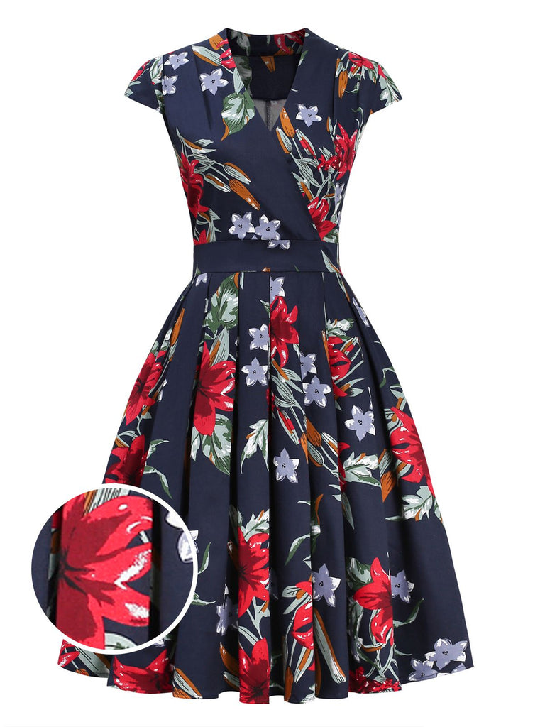 Navy Blue 1950s Floral Fold Dress