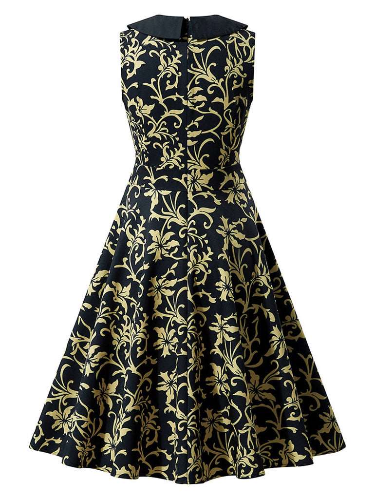 Black 1950s Floral Collar Swing Dress