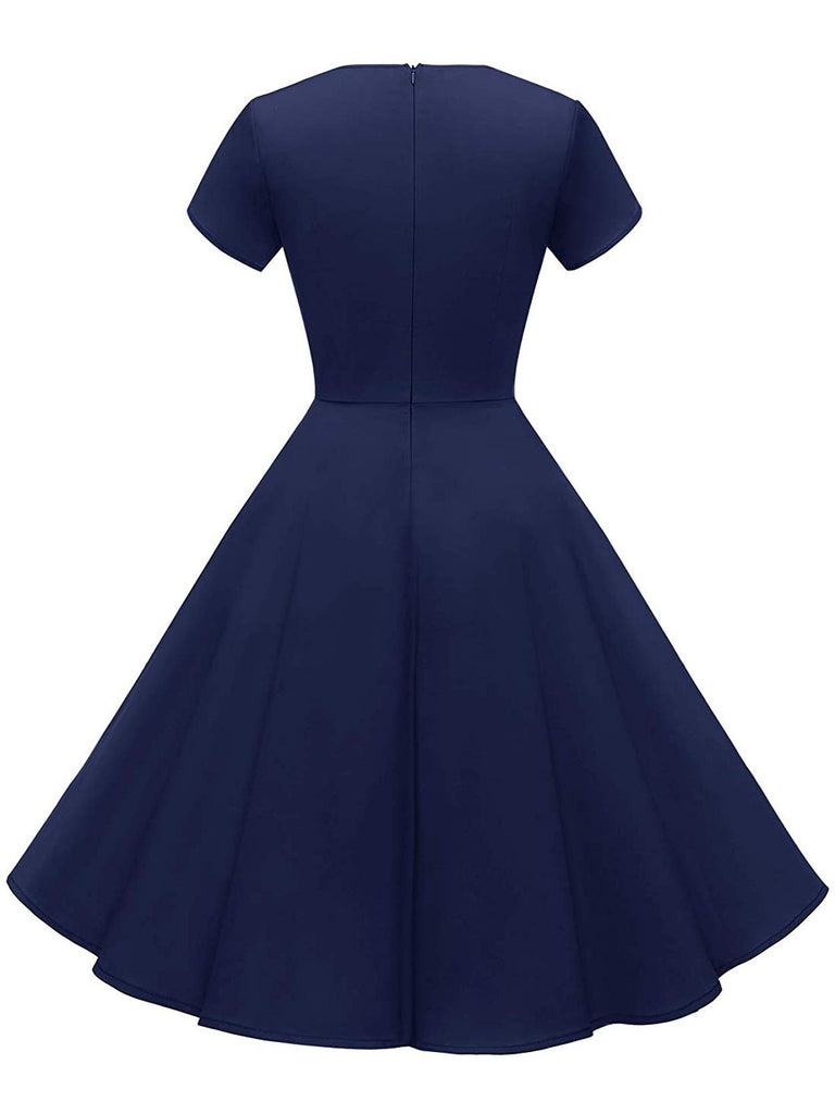 Navy Blue 1950s Solid Button Swing Dress