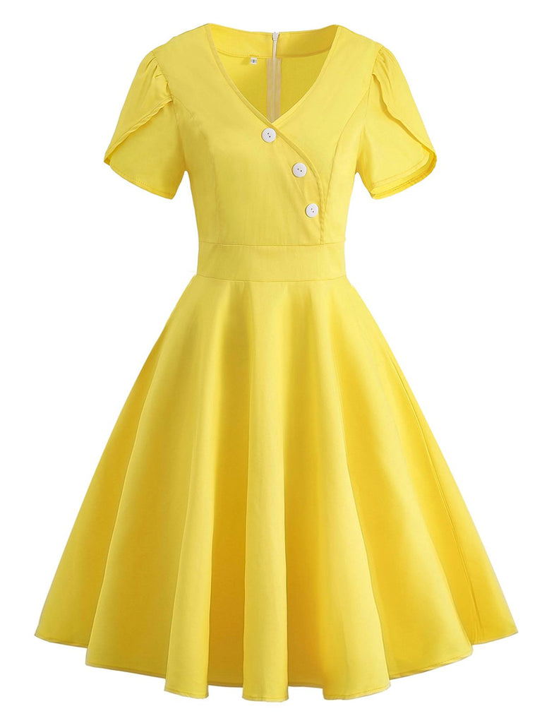 Yellow 1950s Solid Button Swing Dress