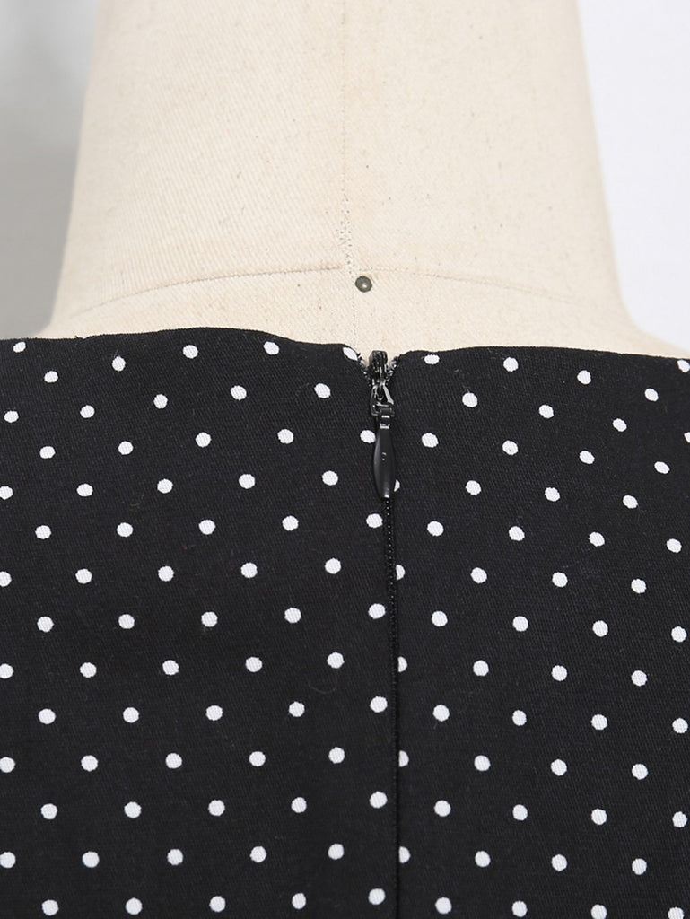 Black 1950s Polka Dot Button Swing Dress
