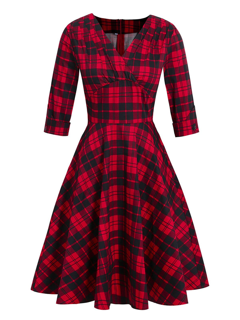 Red 1950s Plaid Folds Swing Dress