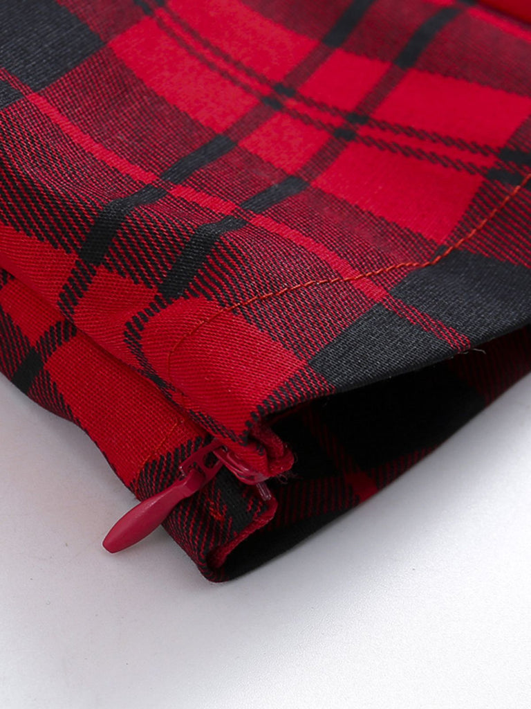 Retro Red Plaid Square Neck Top