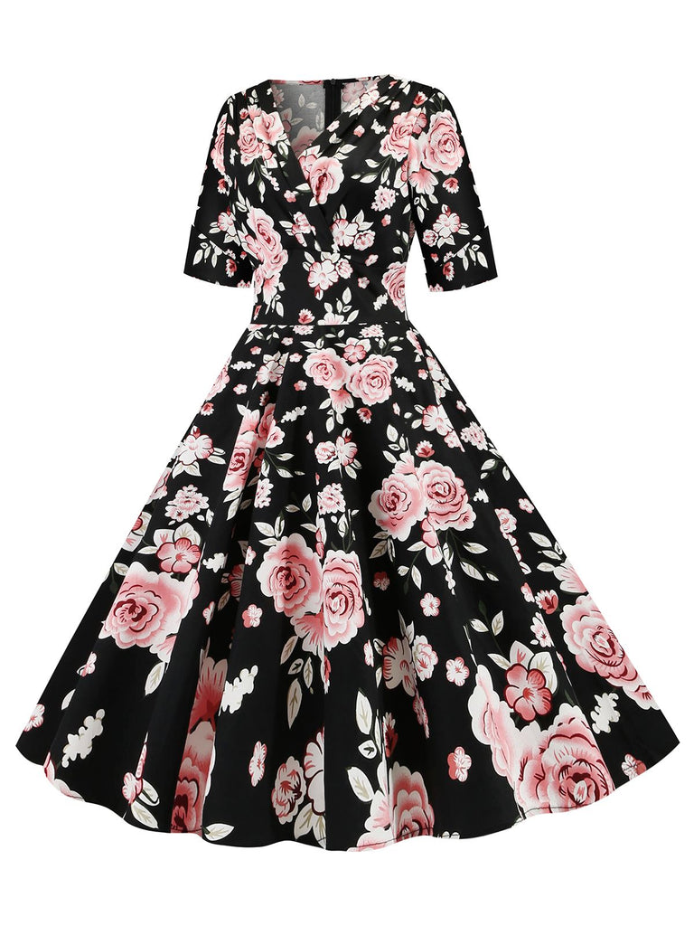 Black 1950s Rose Fold Swing Dress