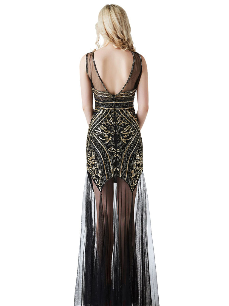 1920s Sequined Gatsby Long Dress