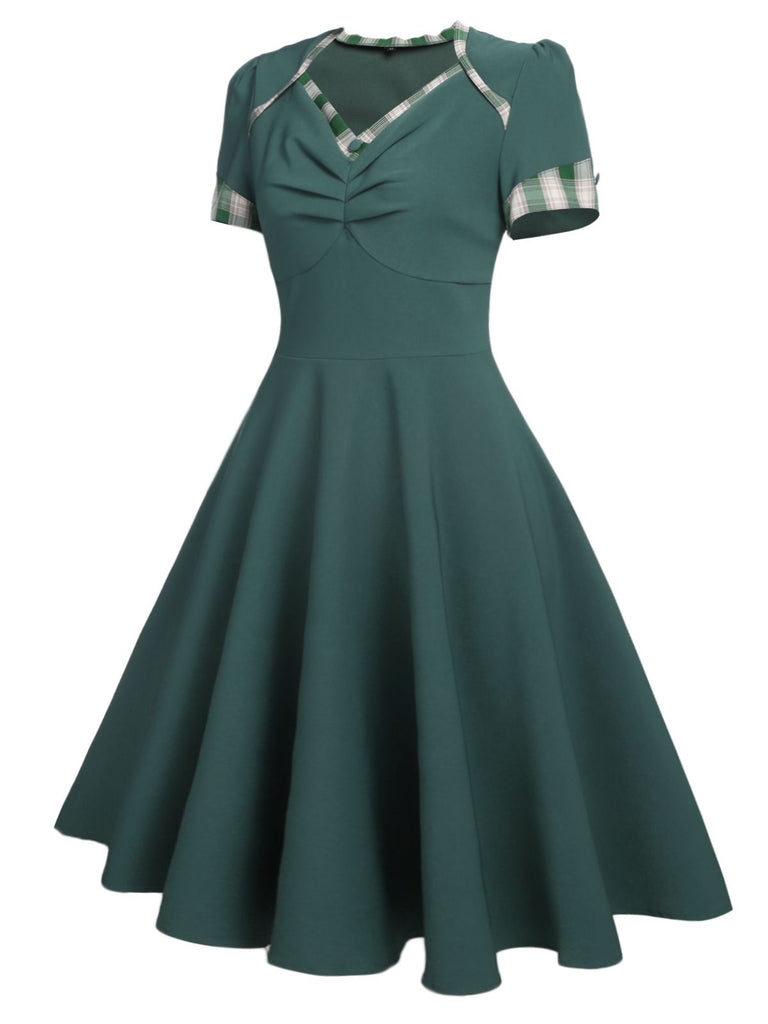 Olive 1950s Plaid Patchwork Swing Dress