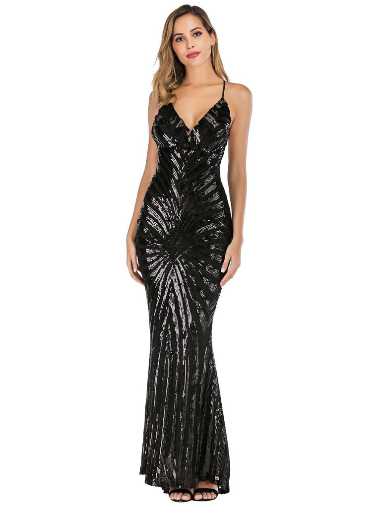 1920s Sequined Backless Maxi Dress