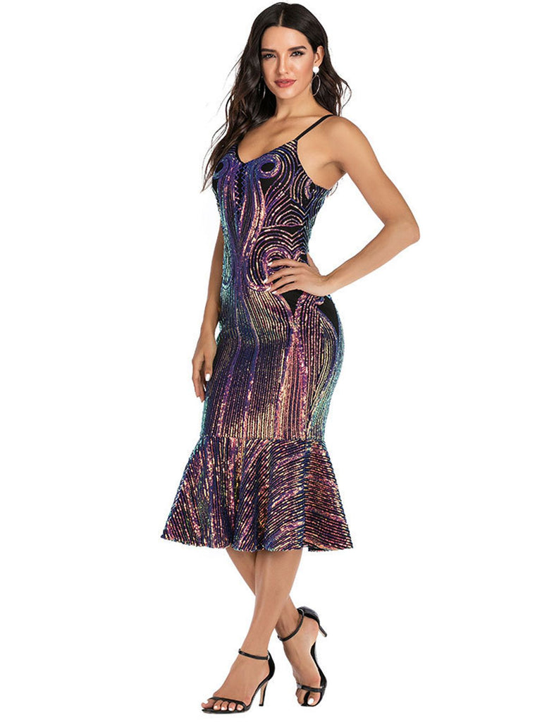 1920s Sequined Fishtail Strap Dress