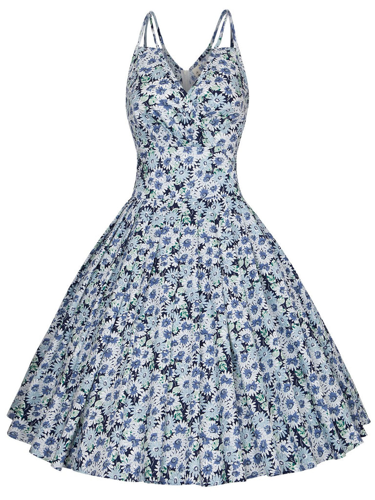 Blue 1950s Daisy Strap Swing Dress